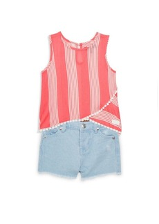 7 For All Mankind Baby's & Little Girl's Two-Piece Stripe Sleeveless Top and Denim Shorts Set