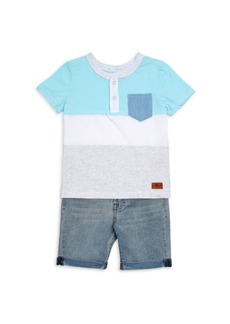 7 For All Mankind Baby's & Little Kid's Two-Piece Shirt & Shorts Set