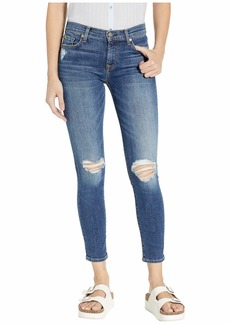 7 For All Mankind B(Air) Ankle Skinny in Blue Monday Destroy