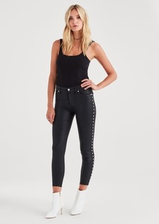 7 For All Mankind B(air) Ankle Skinny with Cut Off Hem in Black with Studs