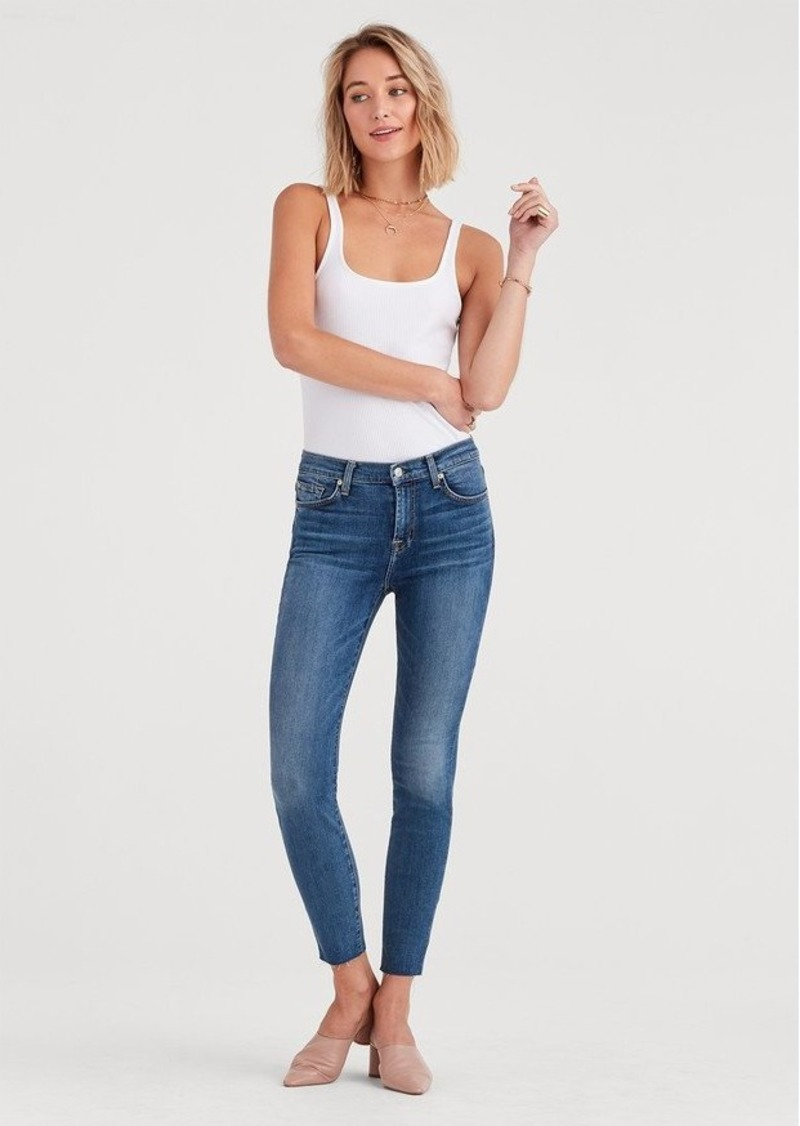 7 For All Mankind b(air) Authentic Denim High Waist Ankle Skinny with Cut Off Hem in Luck