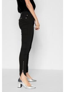 B(air) Denim Ankle Skinny with Tulip Zipper Hem in Black