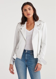 7 For All Mankind Basic Biker Jacket in White