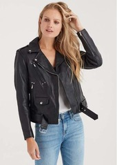 7 For All Mankind Basic Leather Biker Jacket in Black