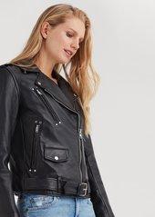 7 For All Mankind Basic Leather Biker Jacket in Black