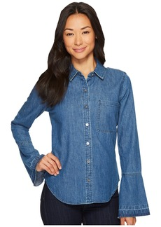 7 For All Mankind Bell Sleeve Denim Shirt in Pico Blue