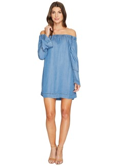 7 For All Mankind Bell Sleeve Off Shoulder Denim Dress in Bluestone