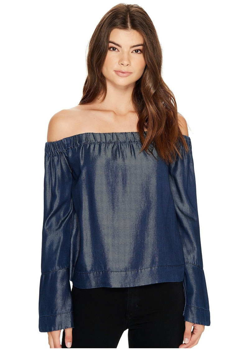 d71e7e25d8a3 7 For All Mankind Bell Sleeve Off Shoulder Denim Top in Rinsed Night ...