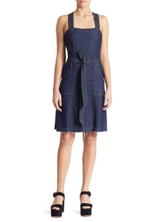 7 For All Mankind Belted A-Line Denim Dress
