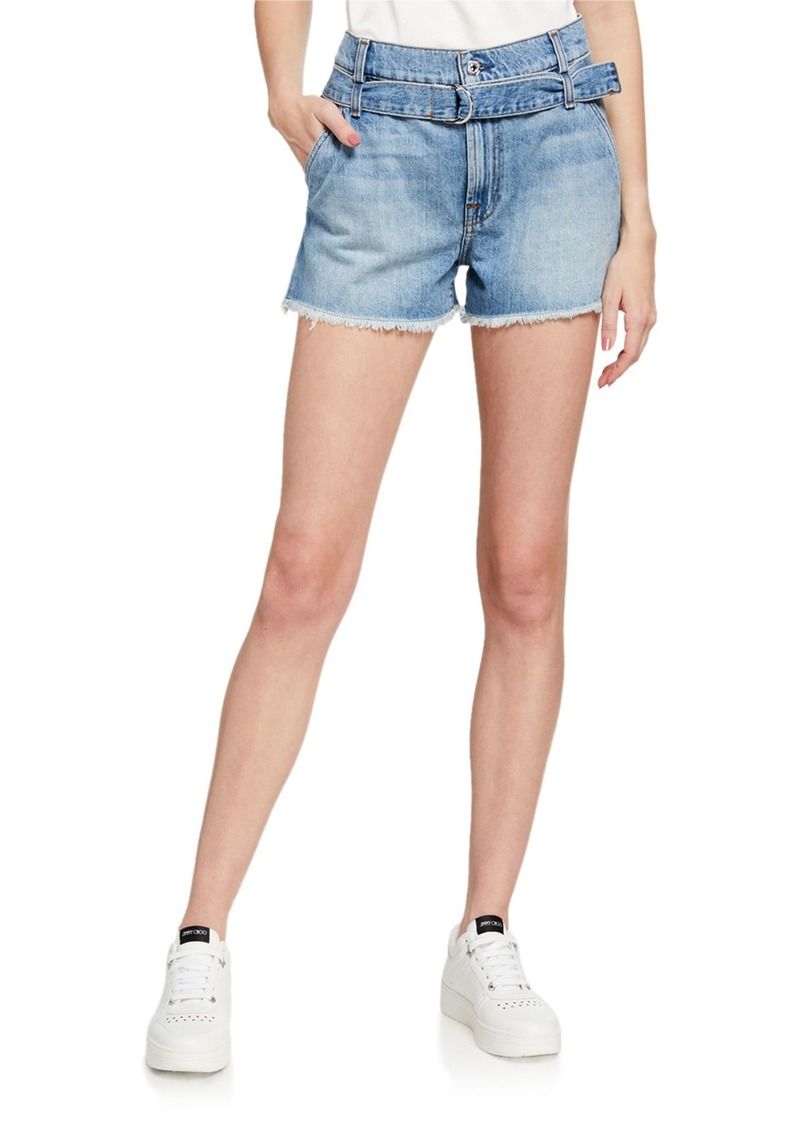 7 For All Mankind Belted Denim Shorts