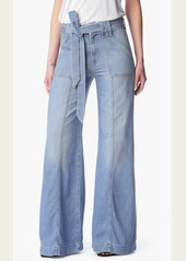 7 For All Mankind Belted Palazzo Pant in Amalfi Sea