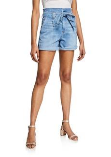 7 For All Mankind Belted Paperbag Waist Denim Shorts