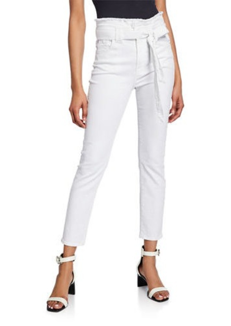 7 For All Mankind Belted Paperbag-Waist Skinny Ankle Pants
