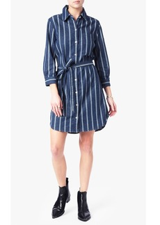 Belted Shirt Dress in Seaside Stripe