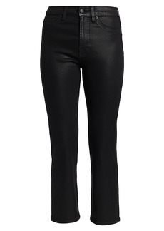 7 For All Mankind Black Coated High-Rise Slim Kick Jeans