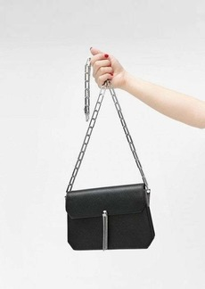 7 For All Mankind Black Leather Crossbody Bag with Tassel