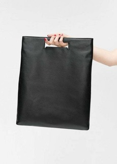 7 For All Mankind Black Leather Foldover Tote