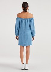 7 For All Mankind Blouson Sleeve Dress in Pacific Blue Sky
