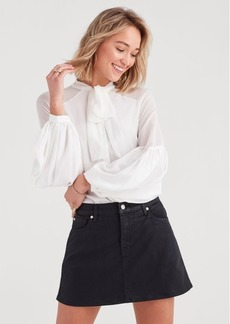 7 For All Mankind Bow Tie Blouson Top in Soft White