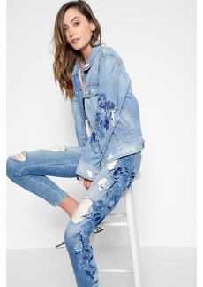 7 For All Mankind Boyfriend Jacket with Blue Roses Embroidery and Destroy