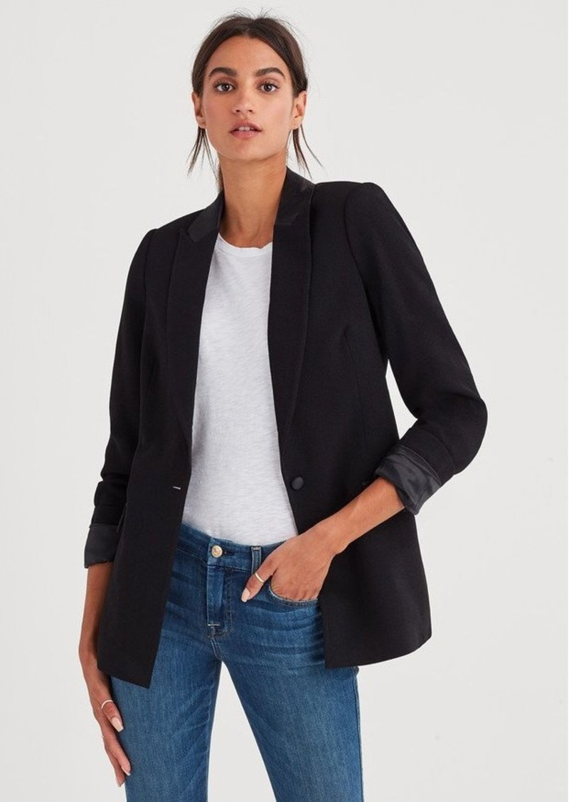 7 For All Mankind Boyfriend Satin Blazer in Jet Black