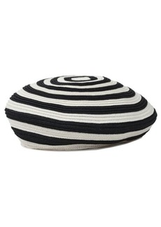 7 For All Mankind Brixton Audrey Straw Hat in Black and White