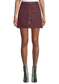 7 For All Mankind Button-Front Coated Twill Mini Skirt