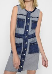 7 For All Mankind Button Front Dress with Distressing in Inside Out