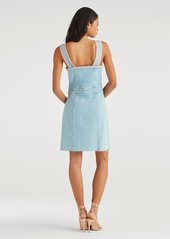 7 For All Mankind Button Front Dress with Rainbow Fringe in Sky High Blue