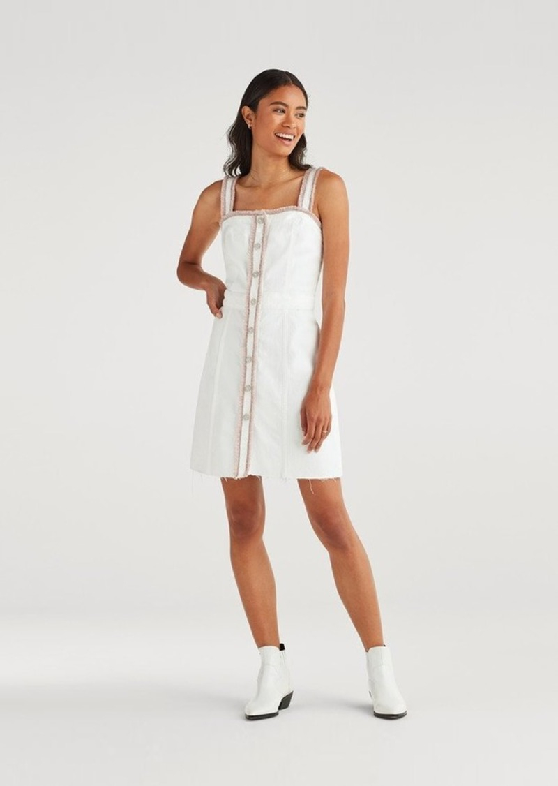 7 For All Mankind Button Front Dress with Rainbow Fringe in Runway White Fashion
