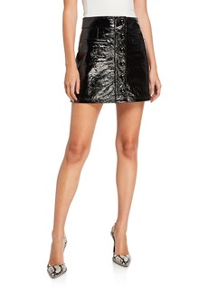 7 For All Mankind Button-Front Leather Skirt