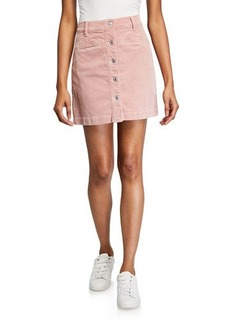 7 For All Mankind Button-Front Mini Skirt