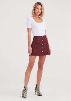 7 For All Mankind Button Front Mini Skirt in Bordeaux