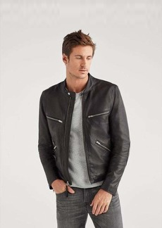 7 For All Mankind Café Racer Black Leather Jacket