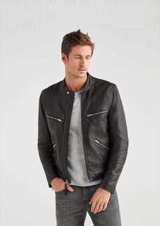 7 For All Mankind Café Racer Black Leather Jacket