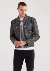 7 For All Mankind Café Racer Jacket in Black with Natural Ground