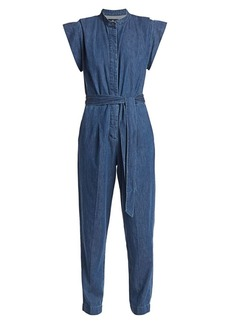 7 For All Mankind Cap Sleeve Denim Jumpsuit