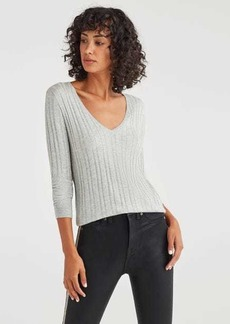 7 For All Mankind Cashmere Blend Long Sleeve Deep V-Neck in Heather Grey