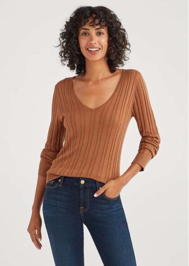7 For All Mankind Cashmere Blend Long Sleeve Deep V-Neck in Penny