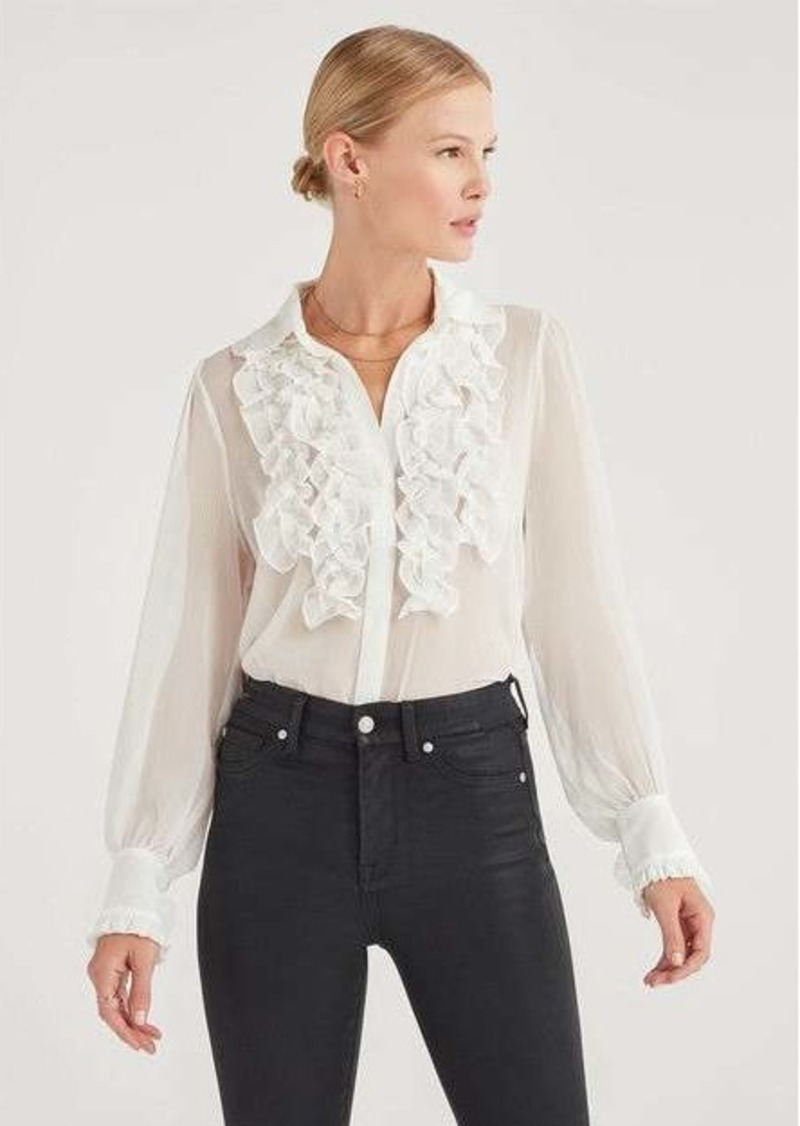 7 For All Mankind Chiffon Ruffle Yoke Top in Soft White