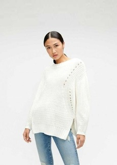7 For All Mankind Chunky Sweater with Zippers in Ivory