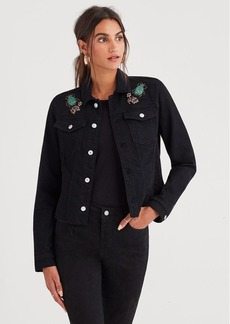 7 For All Mankind Classic Denim Jacket with Cut Off Waist Band and Jewel Garden Applique