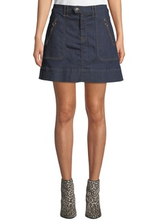 7 For All Mankind Clean Utility Denim Mini Skirt