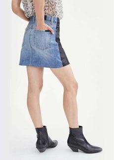 7 For All Mankind Coated 50/50 Denim Miniskirt in Black