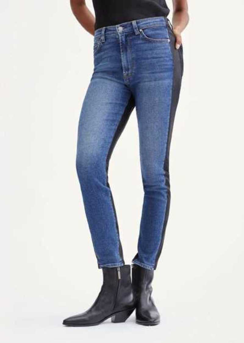 7 For All Mankind Coated 50/50 High Waist Ankle Skinny in Blue Nova