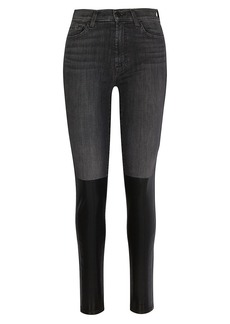 7 For All Mankind Coated-Boot High-Rise Ankle Skinny Jeans