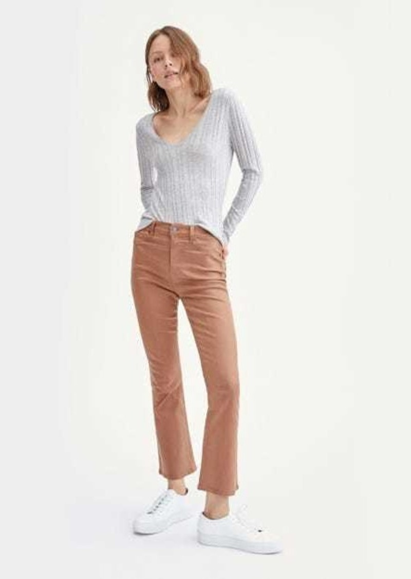 7 For All Mankind Coated High Waist Slim Kick with Faux Pockets in Penny