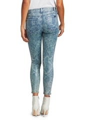 7 For All Mankind Coated Laser Indigo Snake Mid-Rise Ankle Skinny Jeans