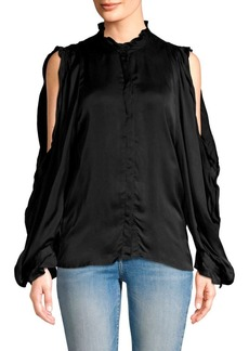7 For All Mankind Cold Shoulder Ruffle Top