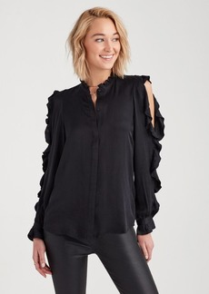 7 For All Mankind Cold Shoulder Ruffle Top in Jet Black